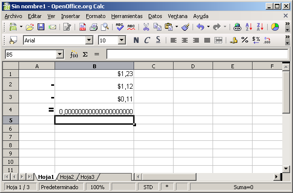 Excel no usa aritmética decimal | Ignorante