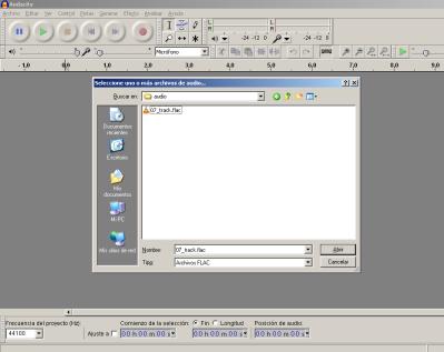 Paso 1: Abrir un archivo flac con Audacity