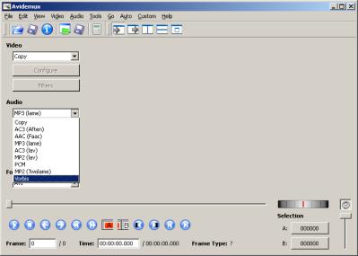Selección de códec de audio en Avidemux 2.5.0