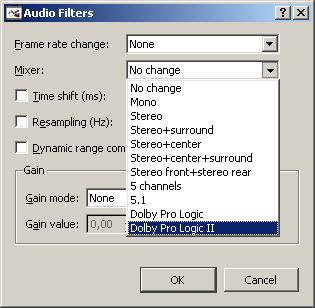 Filtros de audio en Avidemux 2.5.0