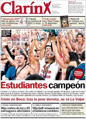 Tapa del diario Clarín del 14 de diciembre de 2006.