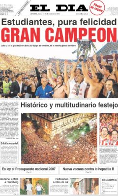 Tapa del diario El Día del 14 de diciembre de 2006.