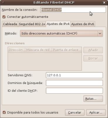 Configuración de red para usar pdns-recursor