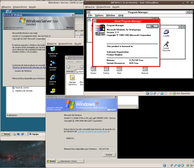 Tres versiones de Windows corriendo a la par