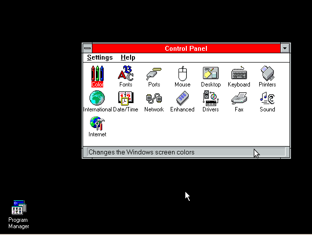 Panel de Control de Windows 3.11
