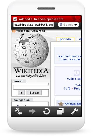 Opera Mini 5.0 mostrando la Wikipedia